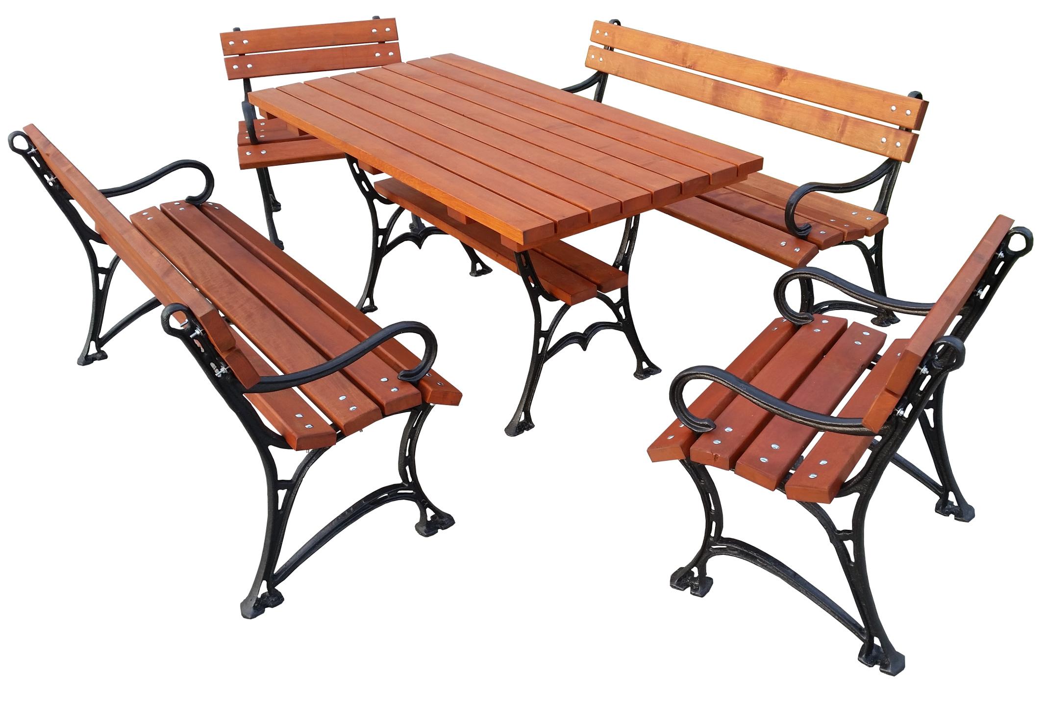 КОМПЛЕКТ - садовая мебель с подлокотниками. ЧУГУННЫЕ НОГИ