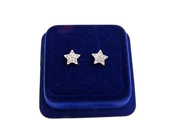 Kolczyki srebrne - gwiazdki z cyrkoniami