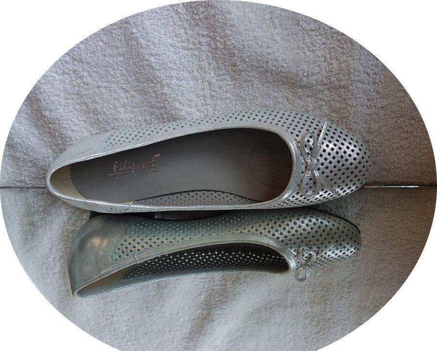Skórzane Baletki srebrne tęgość H 9694 nr 42