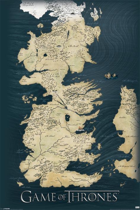Hra O Trojky Mapa Westeros a Esos - Plagát 61x91,5cm