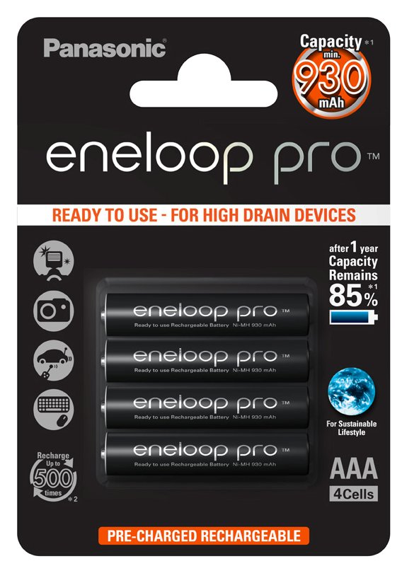 Item 4X PANASONIC ENELOOP PRO rechargeable BATTERIES R03/AAA 4BL