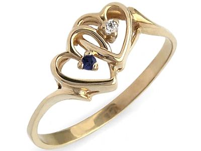 ZŁOTY 585 pierścionek z BRYLANT SZAFIR zaręczynowy