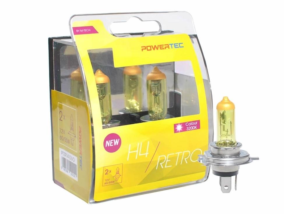 Lampa POWERTEC retro 3200K H4 zlatožlté 2ks