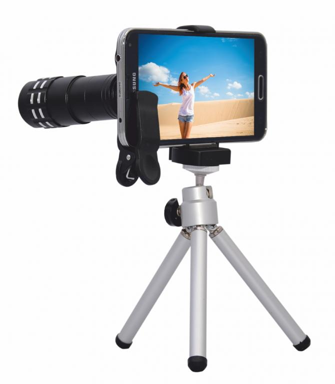 Obiektyw 9x zoom & statyw, zestaw do smartfona