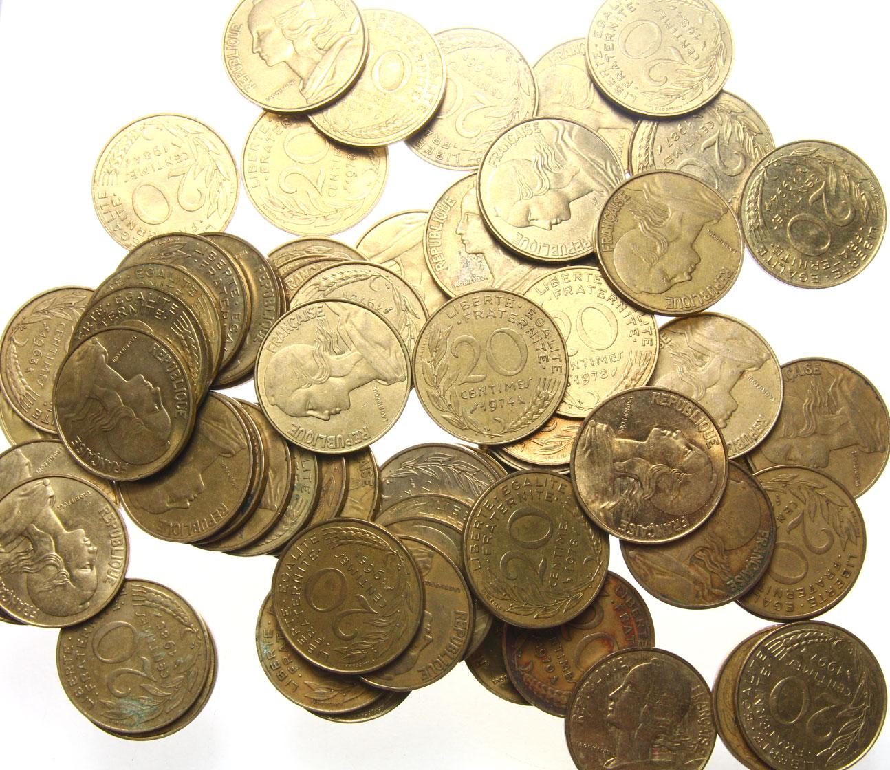 Francúzsko 20 centov centov - balíky 100 ks.