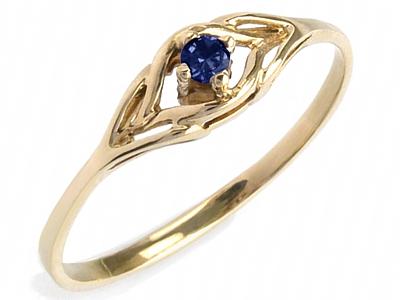 ZŁOTY 585 pierścionek z SZAFIR zaręczynowy w 24h
