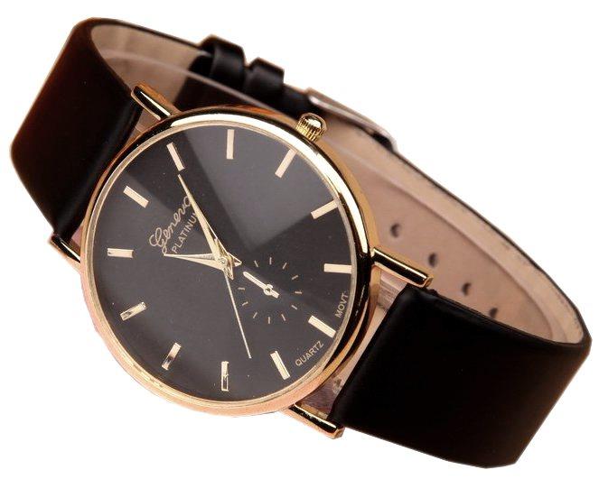 Zegarek damski Geneva złoty czarny skórzany pasek