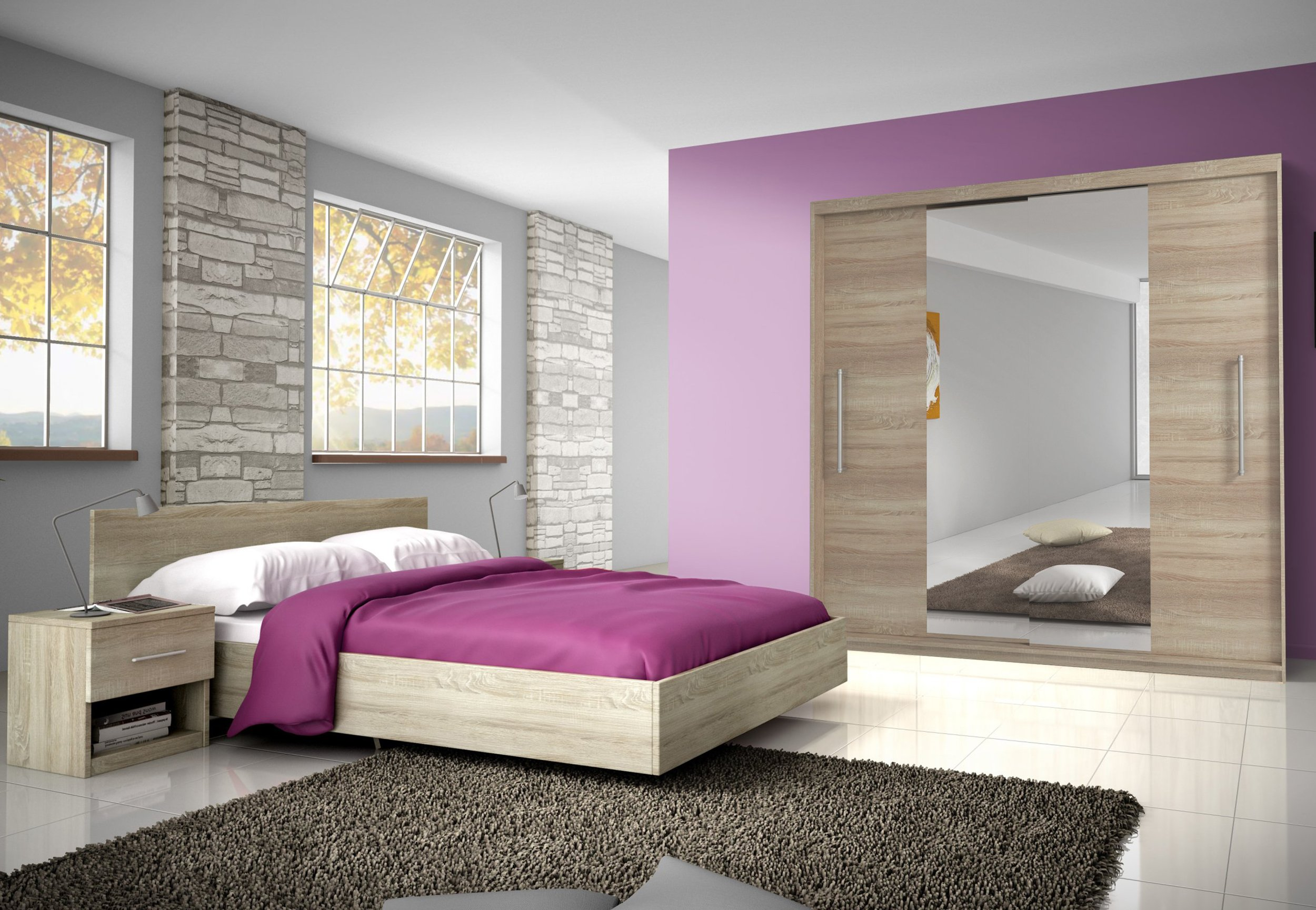 кровать тумбочкой шкаф Мебель для Спальня RENA