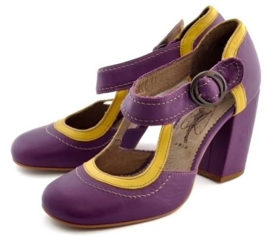 FLY LONDON _ koža-fialová-žltá vintage topánky