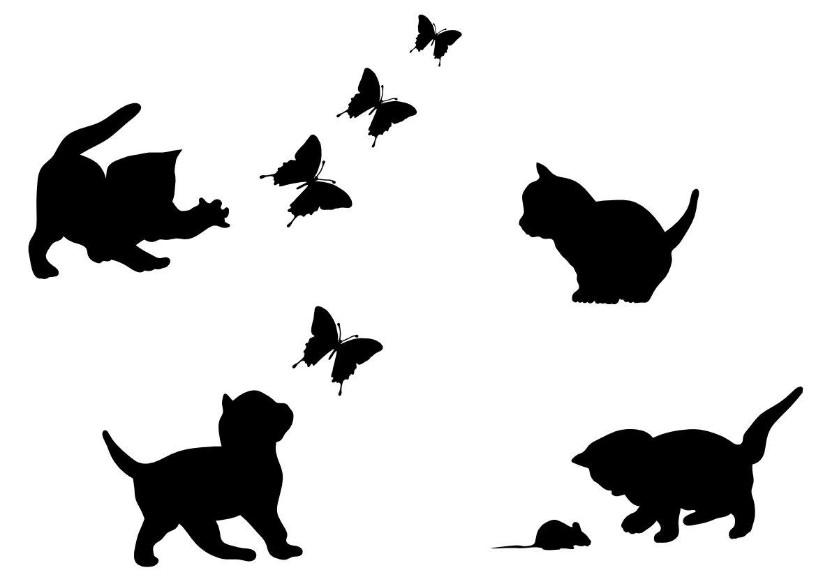 Samolepky mačky + motýle pre nábytkové steny 60 farieb