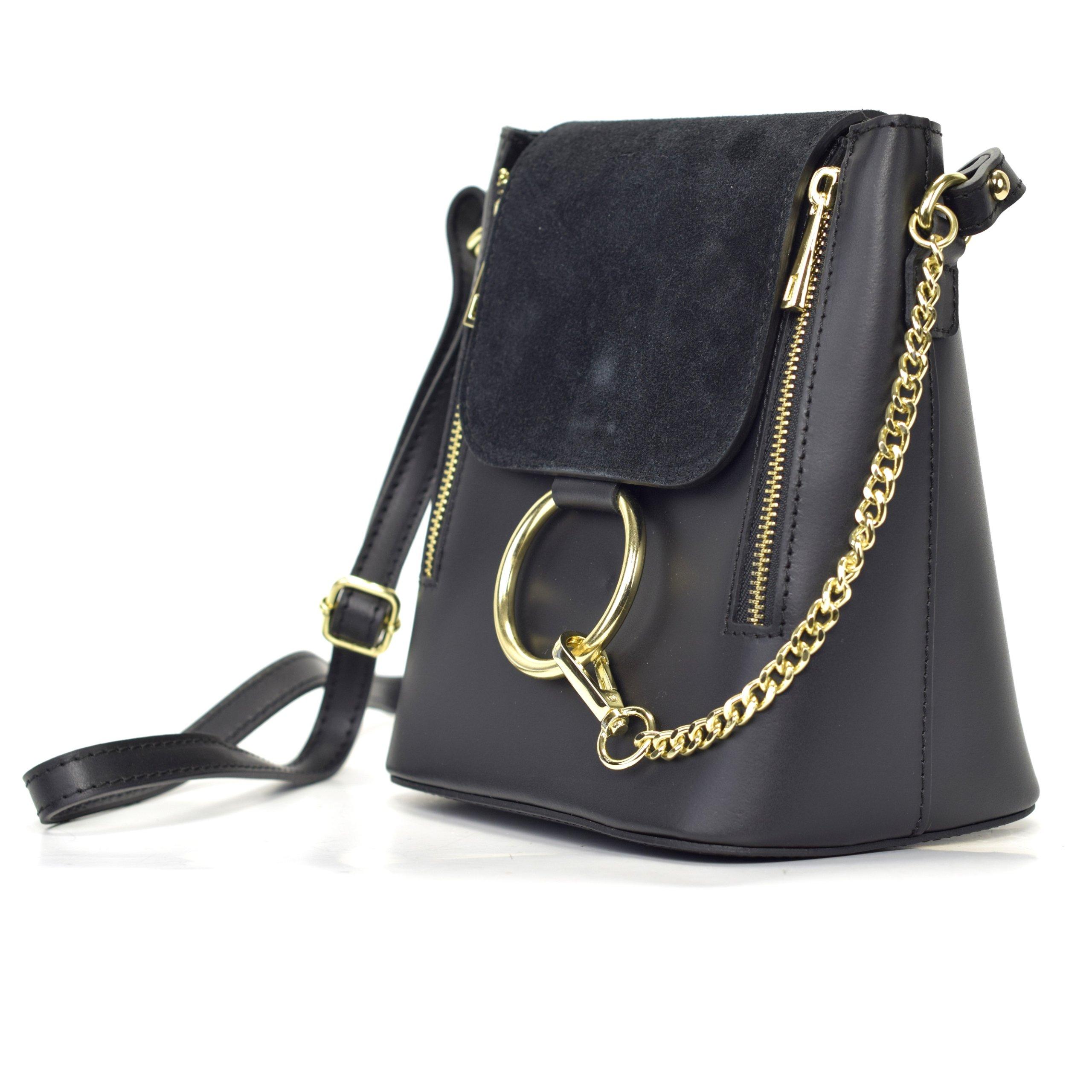 Włoska torebka kuferek listonoszka ala Chloe czarna