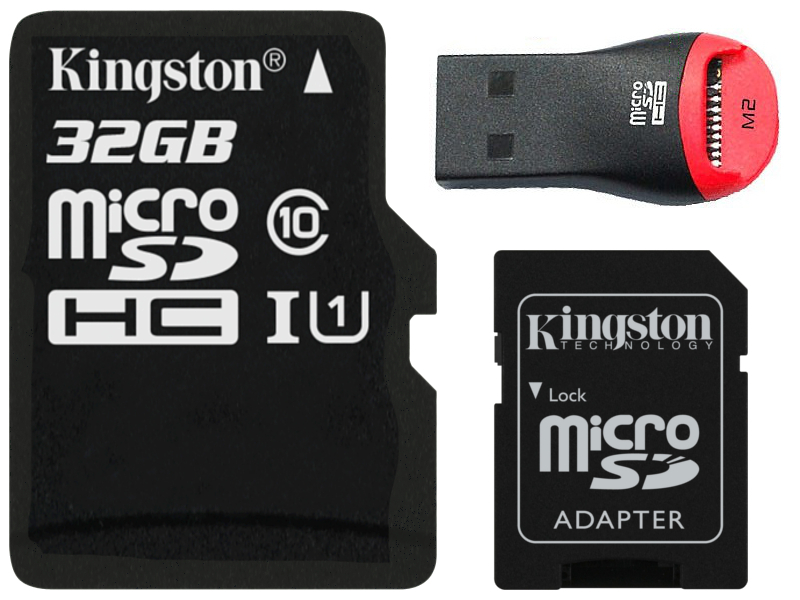 Item KINGSTON memory CARD MICRO SD UHS cl10 32GB + card READER M2