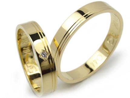 Item GOLDRUN GOLD wedding RING 4MM L044 PAIR