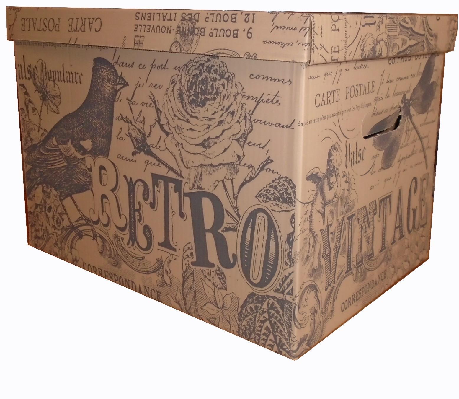 BOX DEKORATÍVNE RETRO 460X320X325 BÉŽOVÁ FARBA-SIVÁ