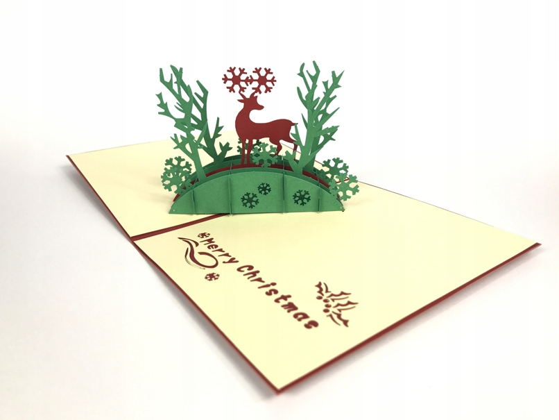 Item Deer in Forest Christmas greeting Card 3d Christmas