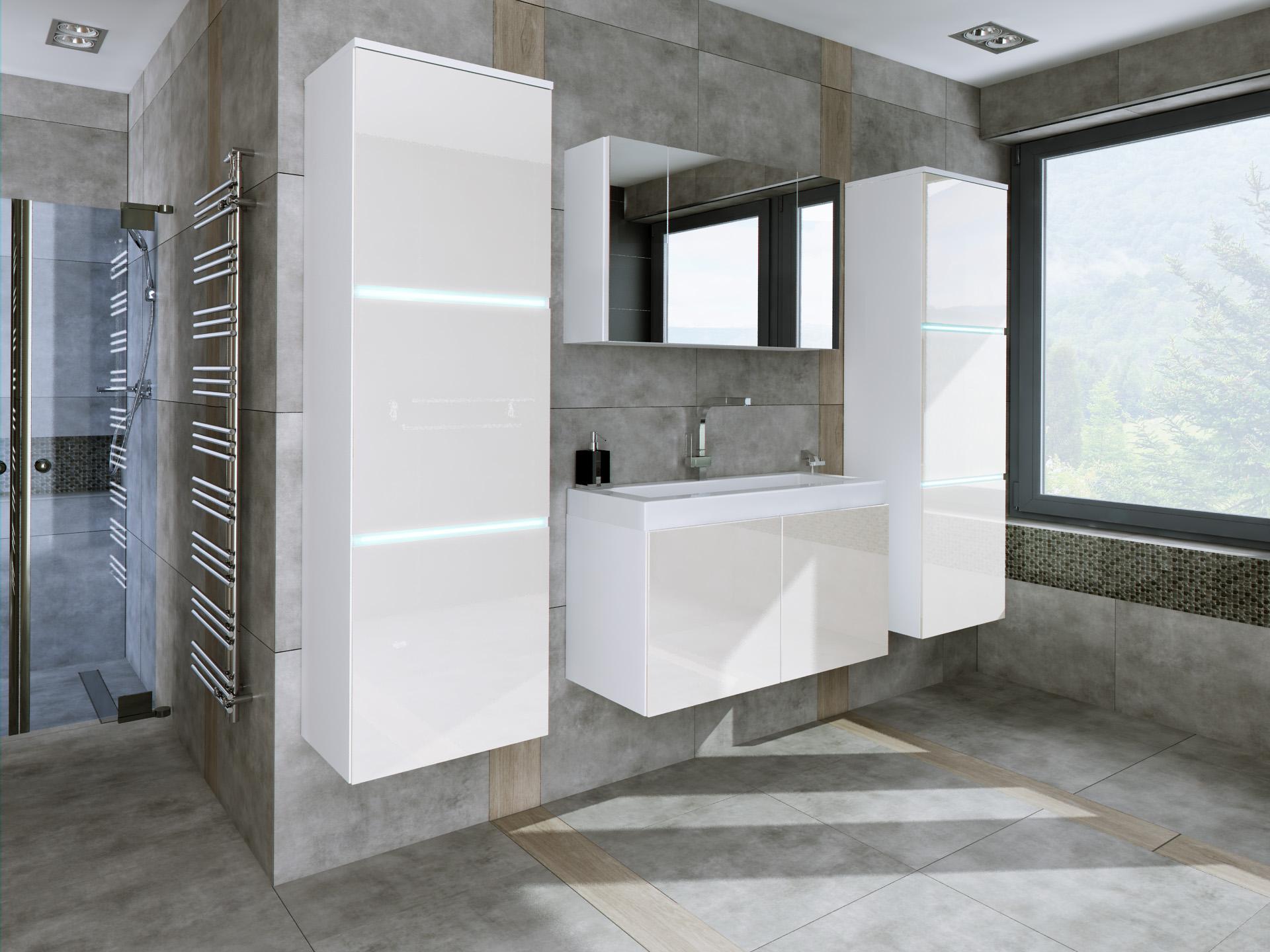łazienka W 3 Vanilia Połysk Szafka Lustrzana 80