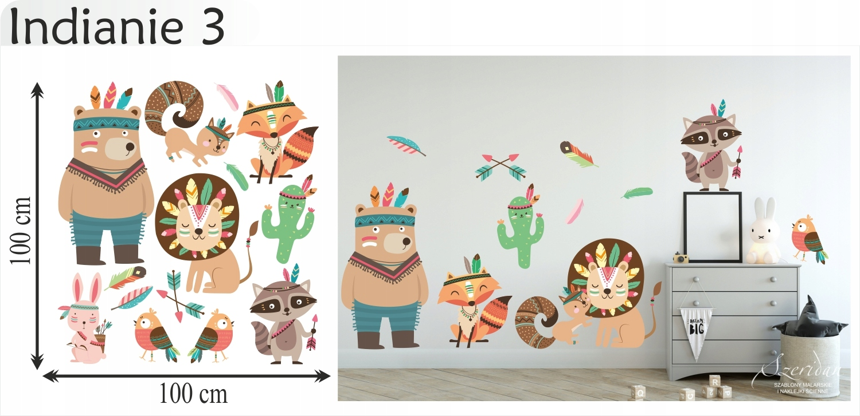 Naklejki ścienne dla dzieci zwierzęta Indianie L Długość 100 cm