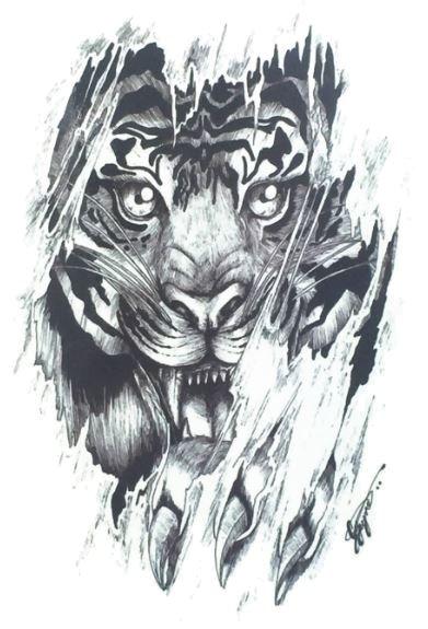 Tatuaż Z Tygrysem Kalkomania Tygrys Pazury Tm83