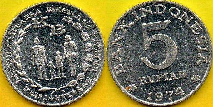 INDONEZJA 5 Rupiah 1974 r.