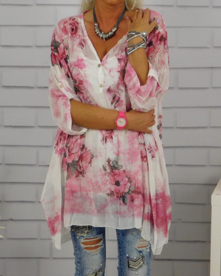 A59# Wyjątkowa Włoska Bluzka + Top Róż Oversize