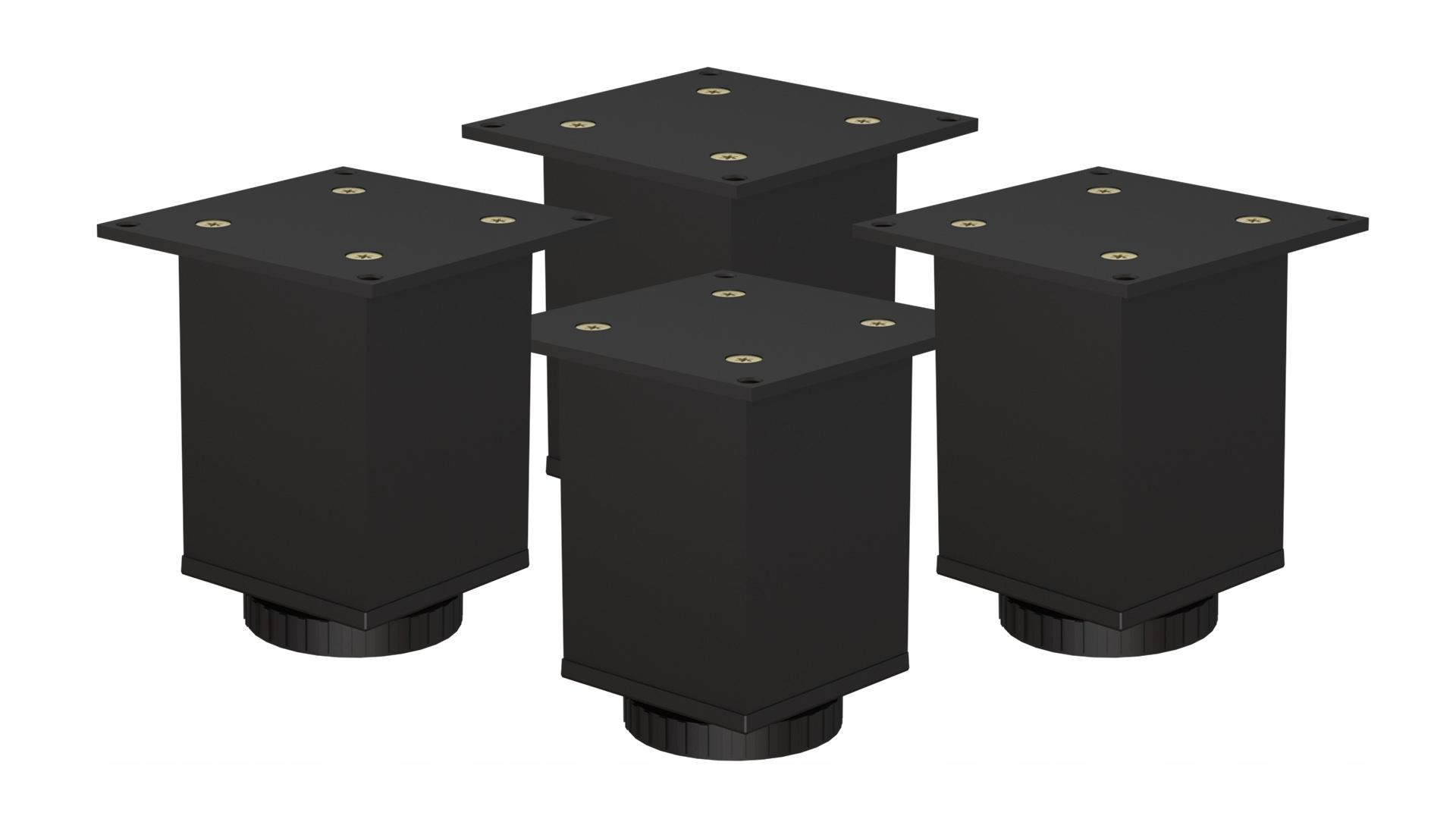 4 ofsetové FEETY LEGS 60x60x100mm ČIERNA FARBA