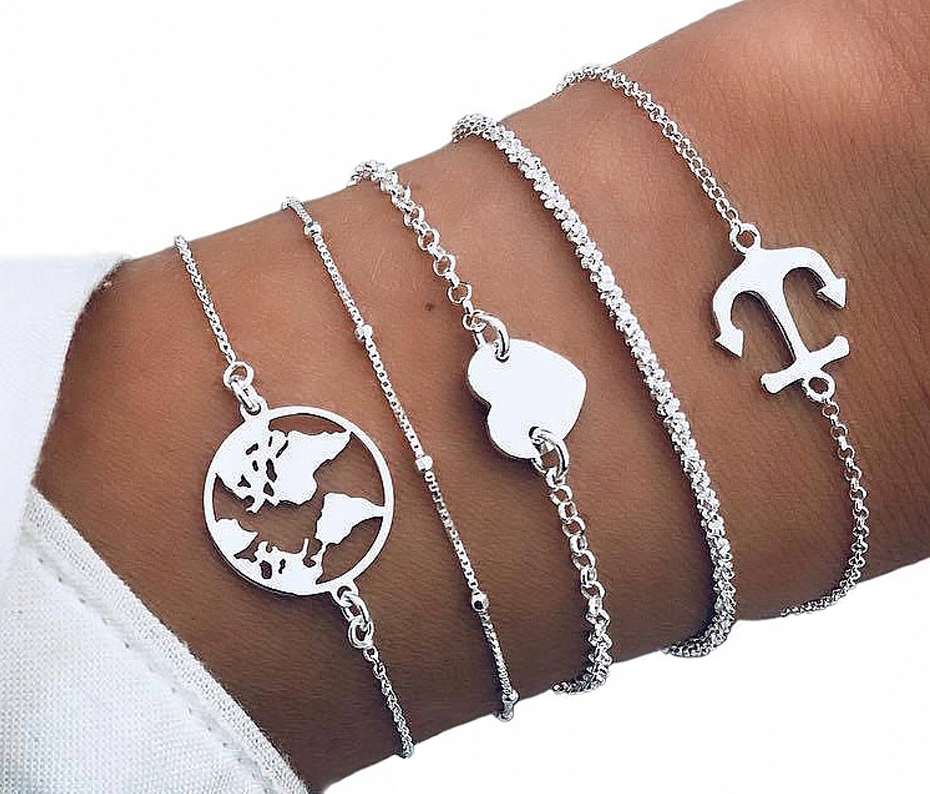 Item SET Bracelet silver rope chain heart