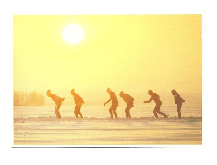 Pocztówka - Łyżwiarze i trening o wschodzie słońca