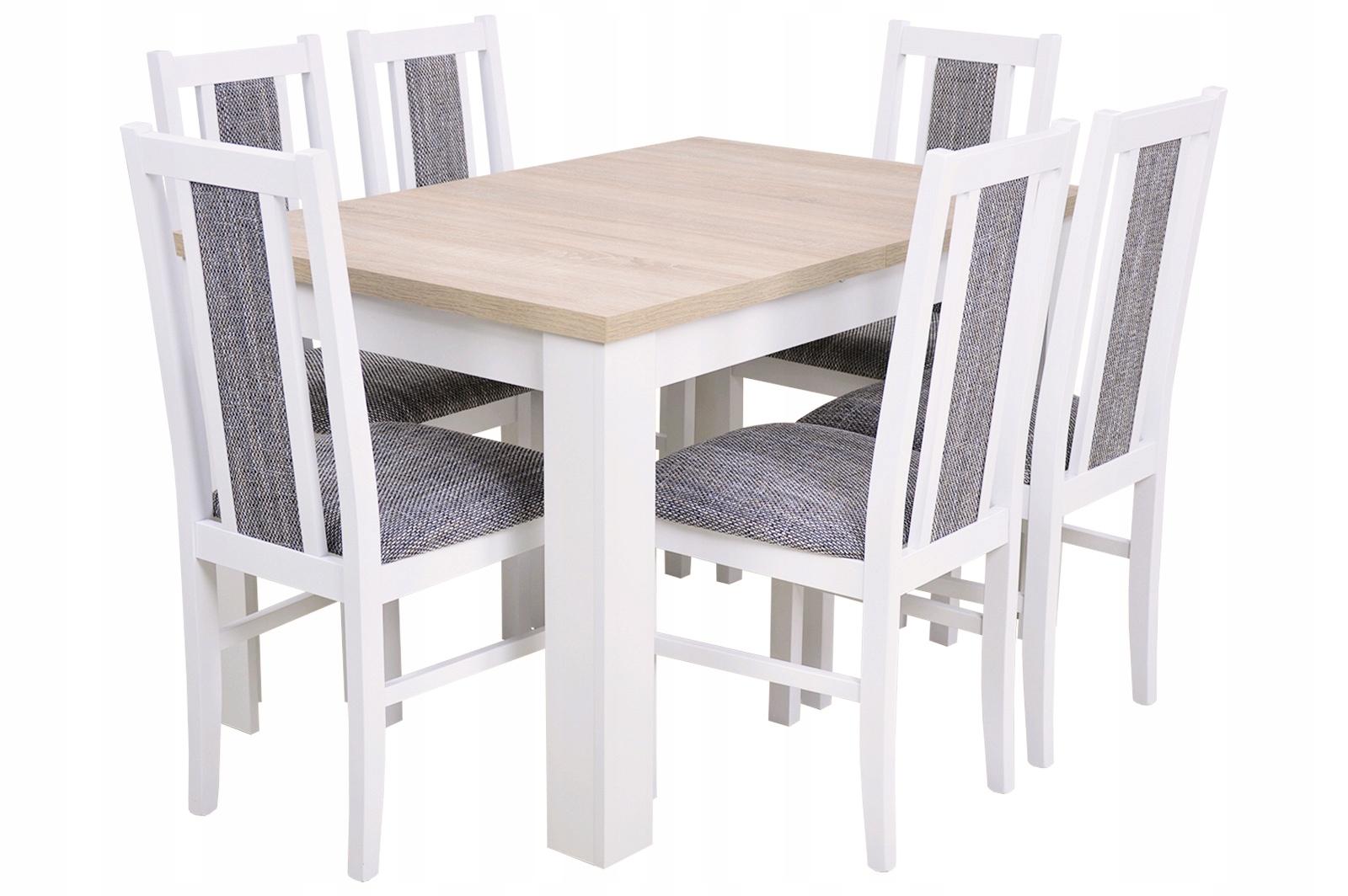 9a6e9c83b9f7 Biela súprava KUCHYNSKÝ stôl 160 a 6 STOLIČIEK DREVA
