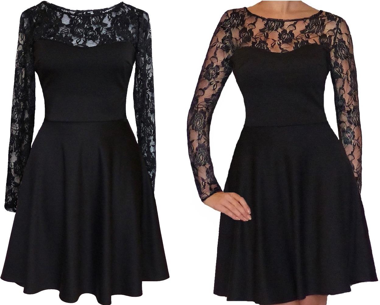 R czarna Rozkloszowana sukienka Koronka 38 Szyjemy