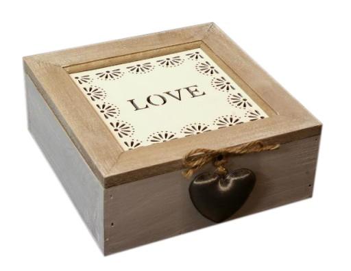 Rámček drevený box na čaj retro LÁSKA