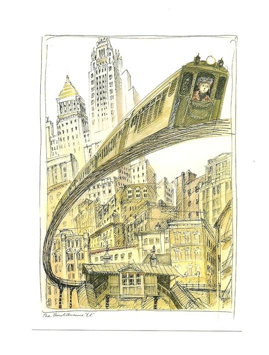 Pocztówka - Nowy Jork i metro w karykaturze ...
