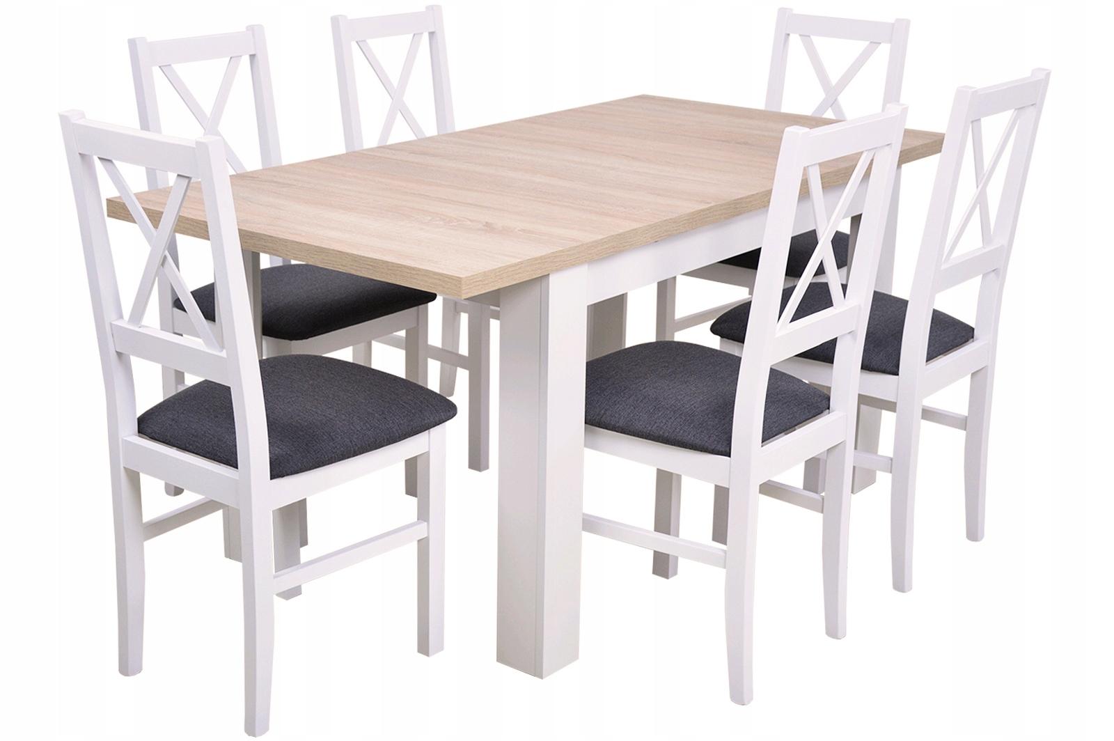 a24b2a3bef63 NASTAVIŤ rozšíriteľný jedálenský stôl a 6 biele STOLIČKY vyrobené z DREVA