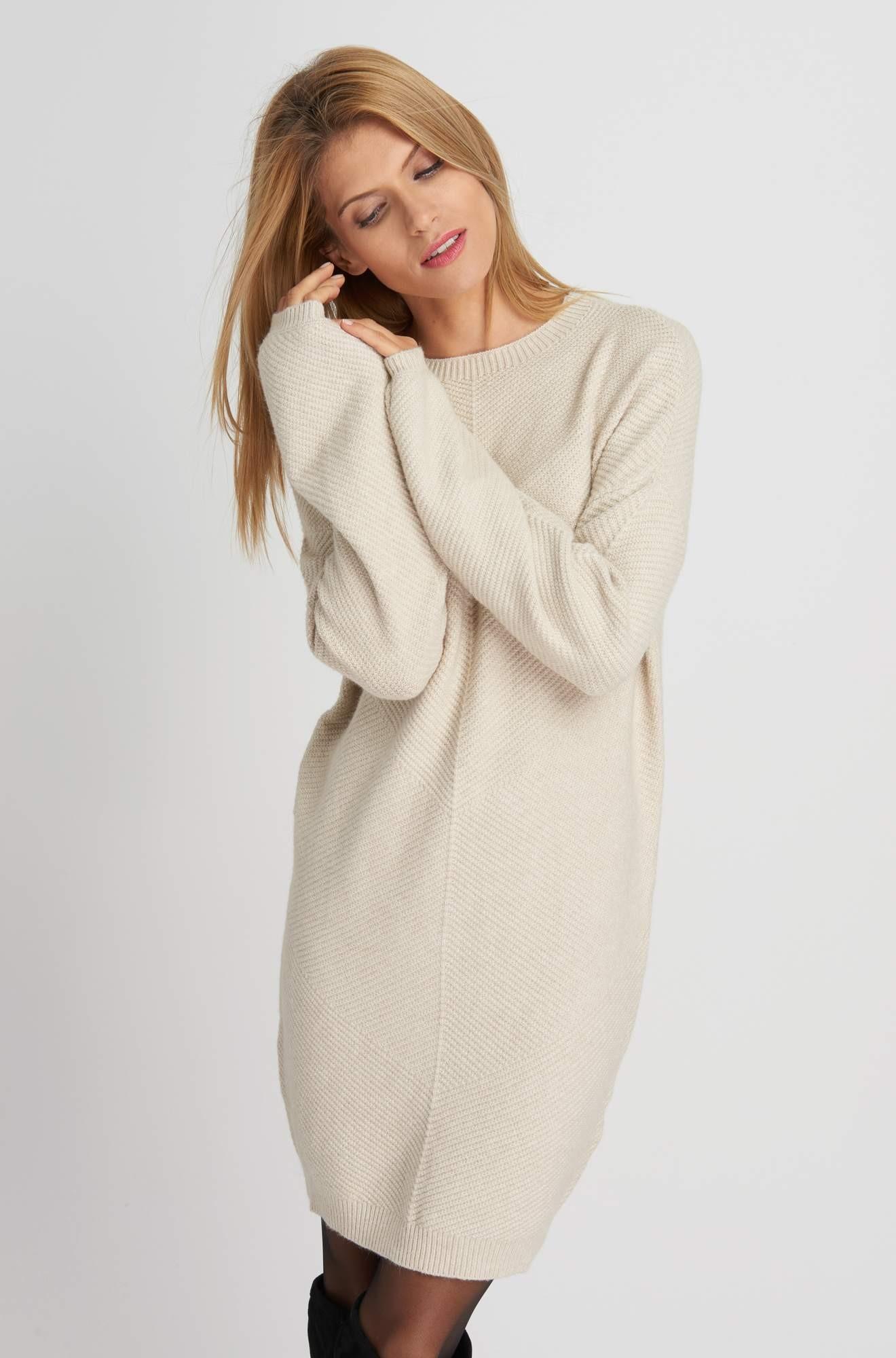 0a039e32c1 ORSAY mohito dzianinowa sukienka oversize beż xs - 7170029194 ...