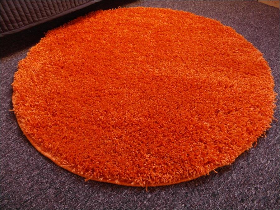 Royal Pomarańczowy Dywan Koło Okrągły Shaggy 100cm