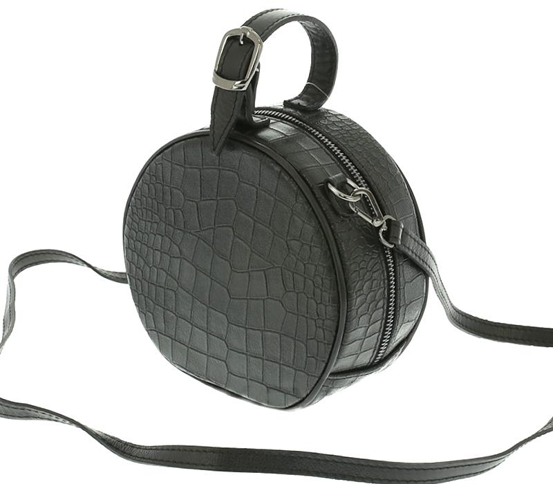 703c9e78a73c7 Mała okrągła skórzana włoska torebka czarna - 7361370918 - oficjalne ...