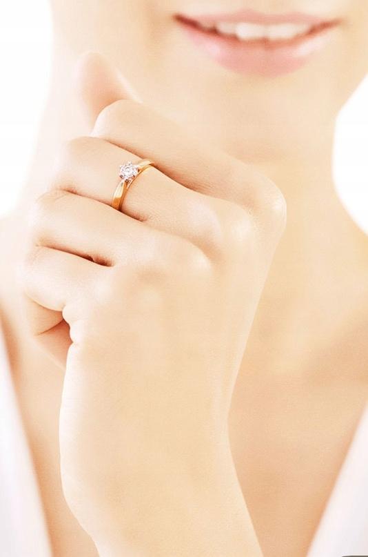 Pierścionek Zaręczynowy Apart Złoty Z Brylantem 7682343064