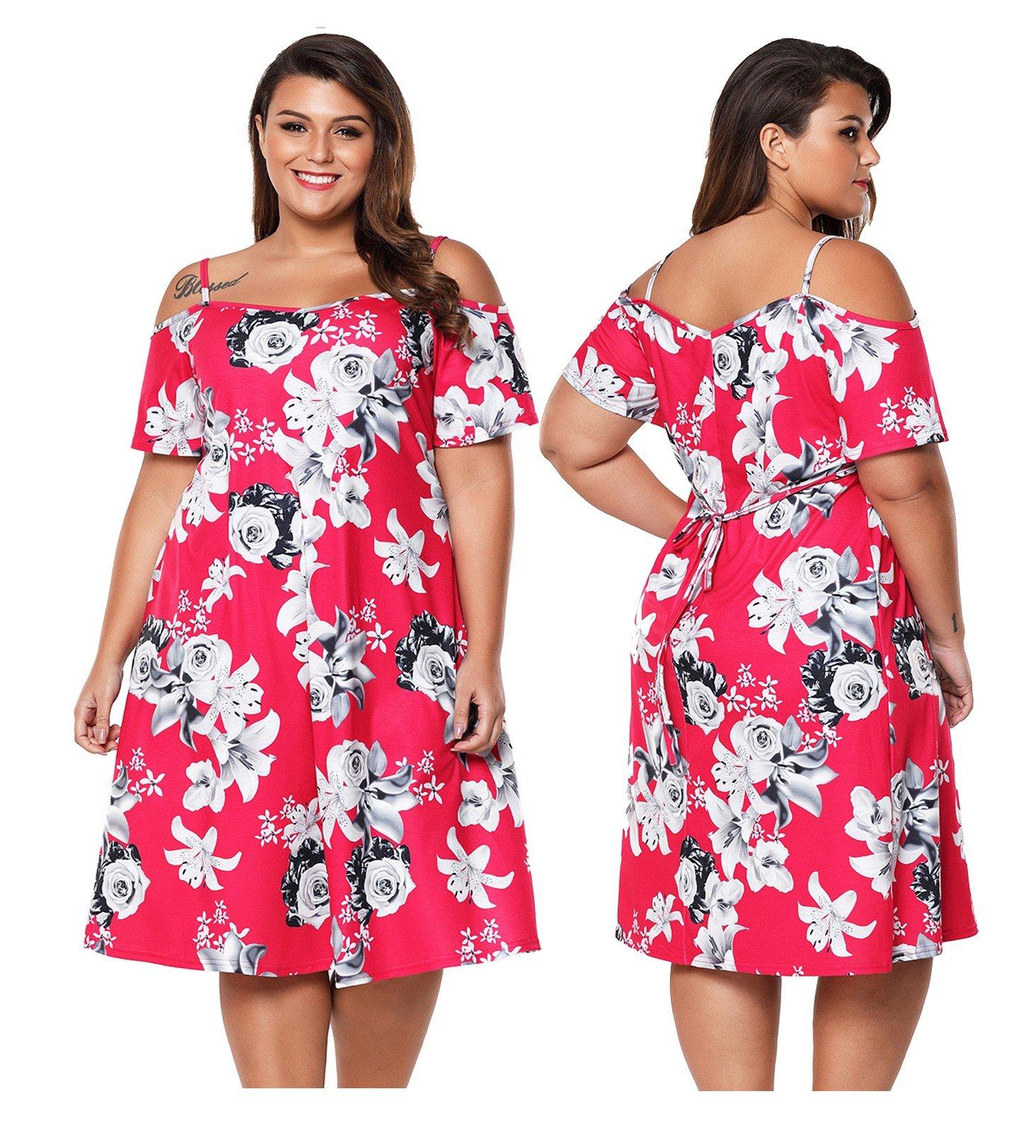 6d344133e8 Sukienka letnia 61964 w kwiaty DUZE ROZMIARY 52 - 7275045300 ...