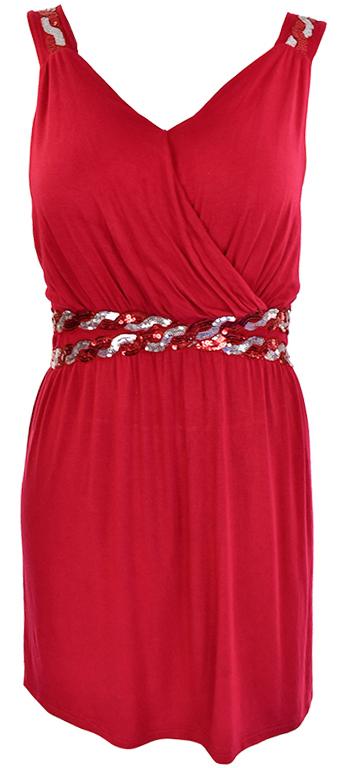 lZ0103  czerwona odcinana sukienka   48/50