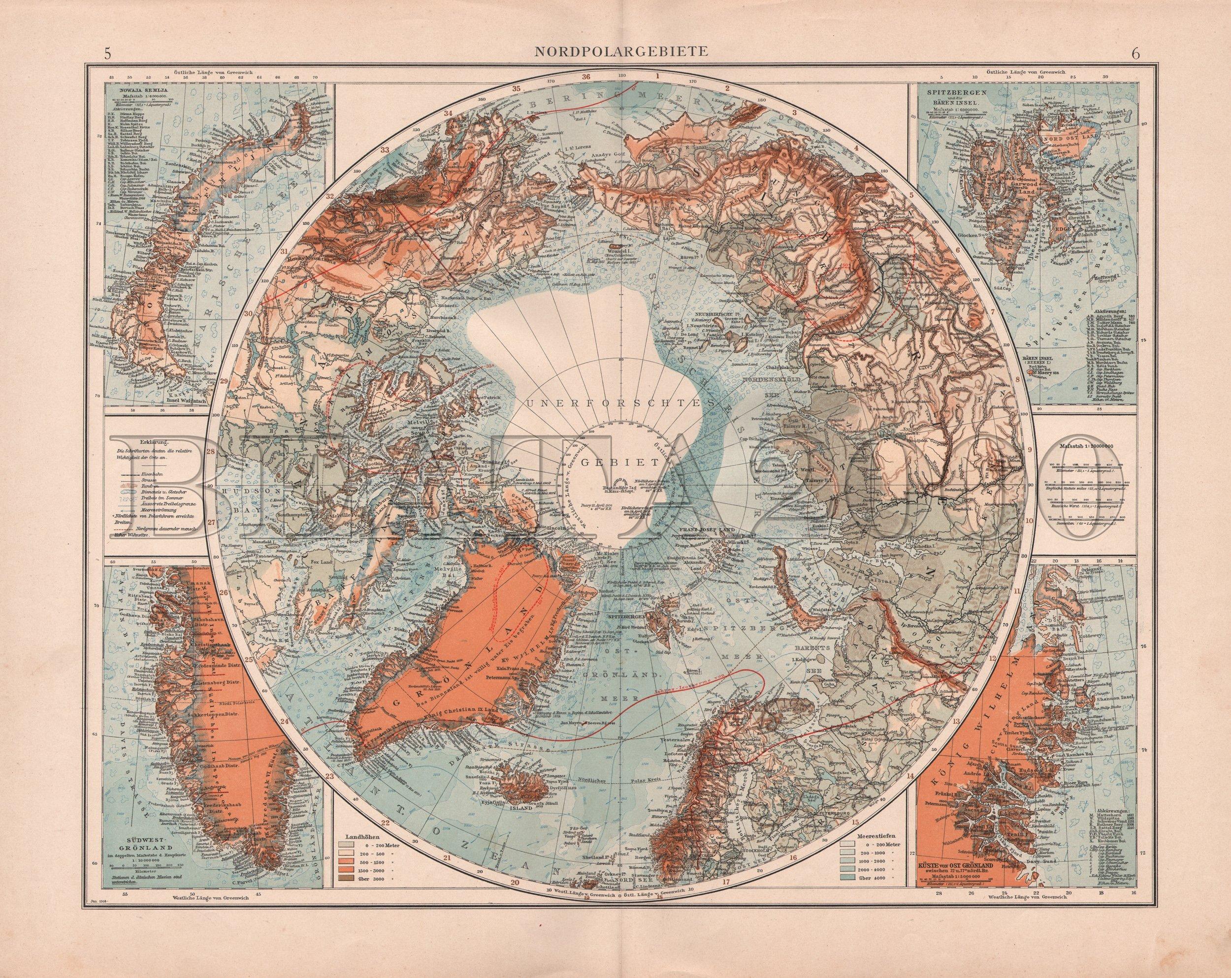 BIEGUN PÓŁNOCNY EFEKTOWNA MAPA 1923 rok ORYGINAŁ