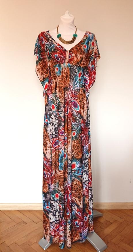 bb0b9f099b Sukienka maxi Wewa w pawie pióra 42 boho - 7386645060 - oficjalne ...