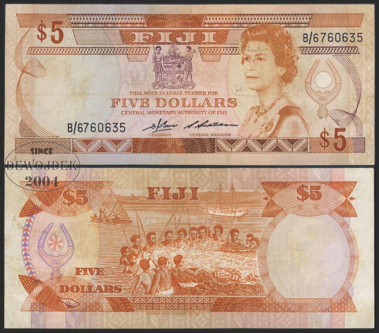 MAX - FIJI 5 Dollars FIDŻI 1986 r. # B/6 # F+