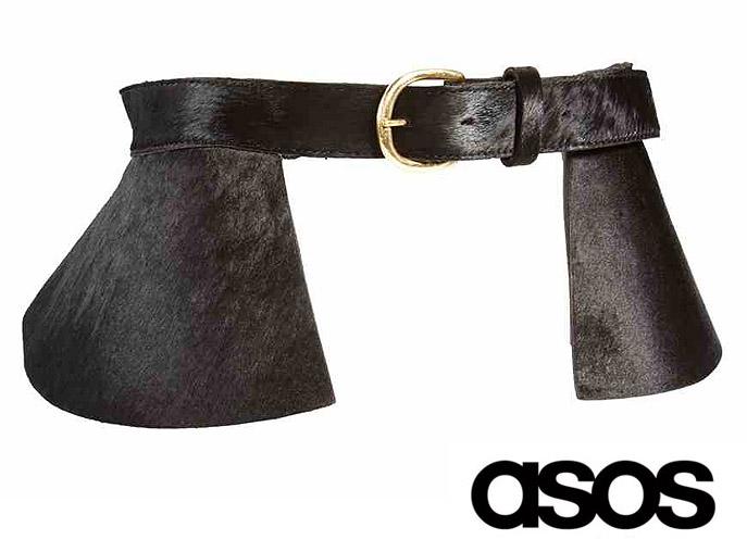 b211c9510d9aed PAS SKÓRZANY ASOS z włosiem baskinka czarny jedyny - 7355552724 ...