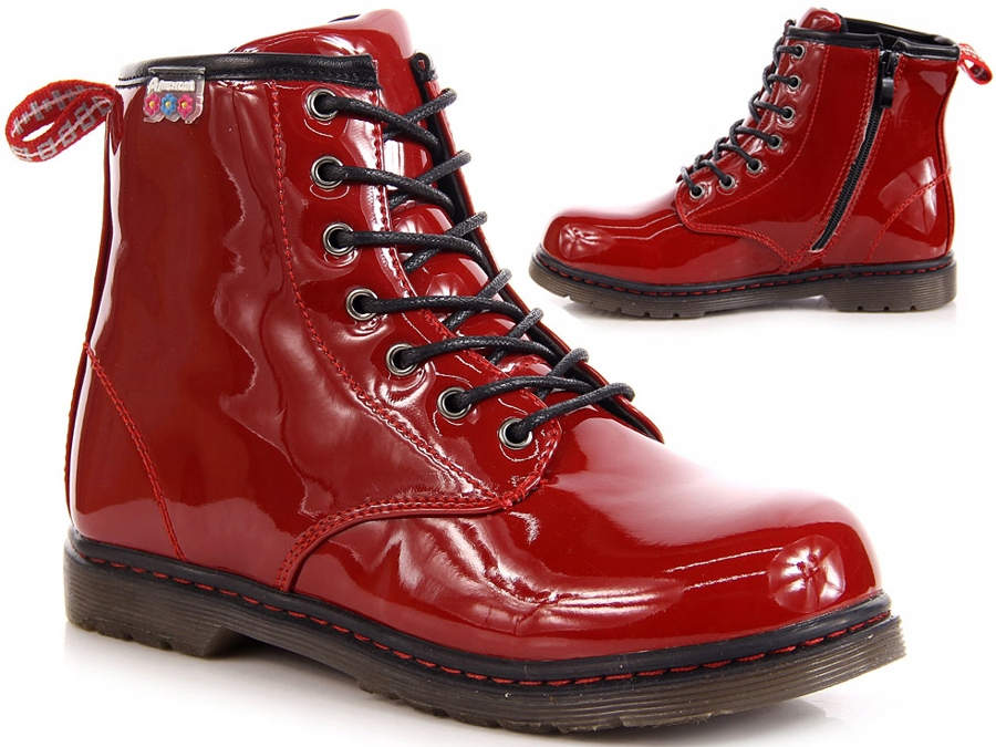b7ba76e731b73 MODNE! LAKIEROWANE czerwone GLANY American Club 31 - 7205328365 ...