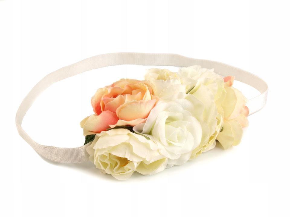 Opaska do włosów elastyczna z kwiatami 12 szt