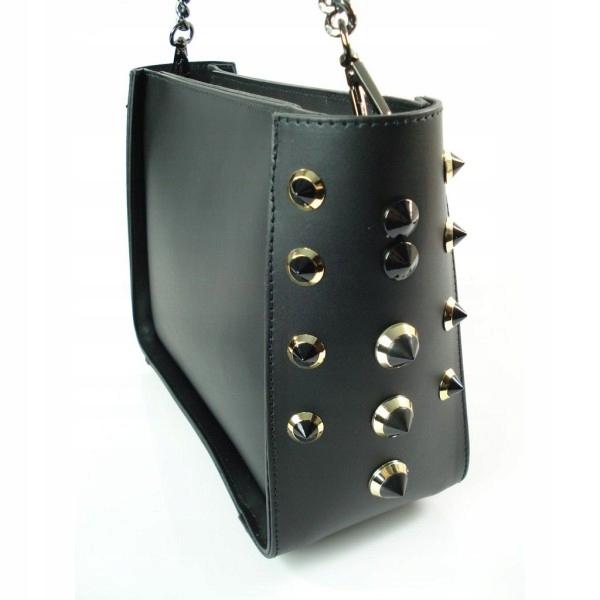 83ad9856c18da Genuine Leather Kuferek Włoska skóra SALI Czarna - 7088274117 ...