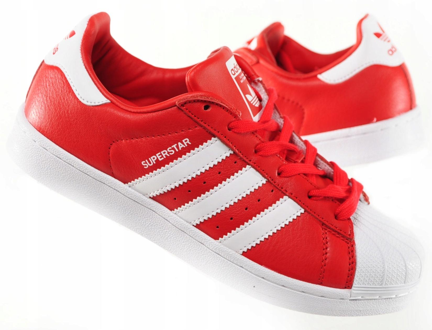 Buty Klasyczne Adidas Damskie Superstar J w Biały Czerwony