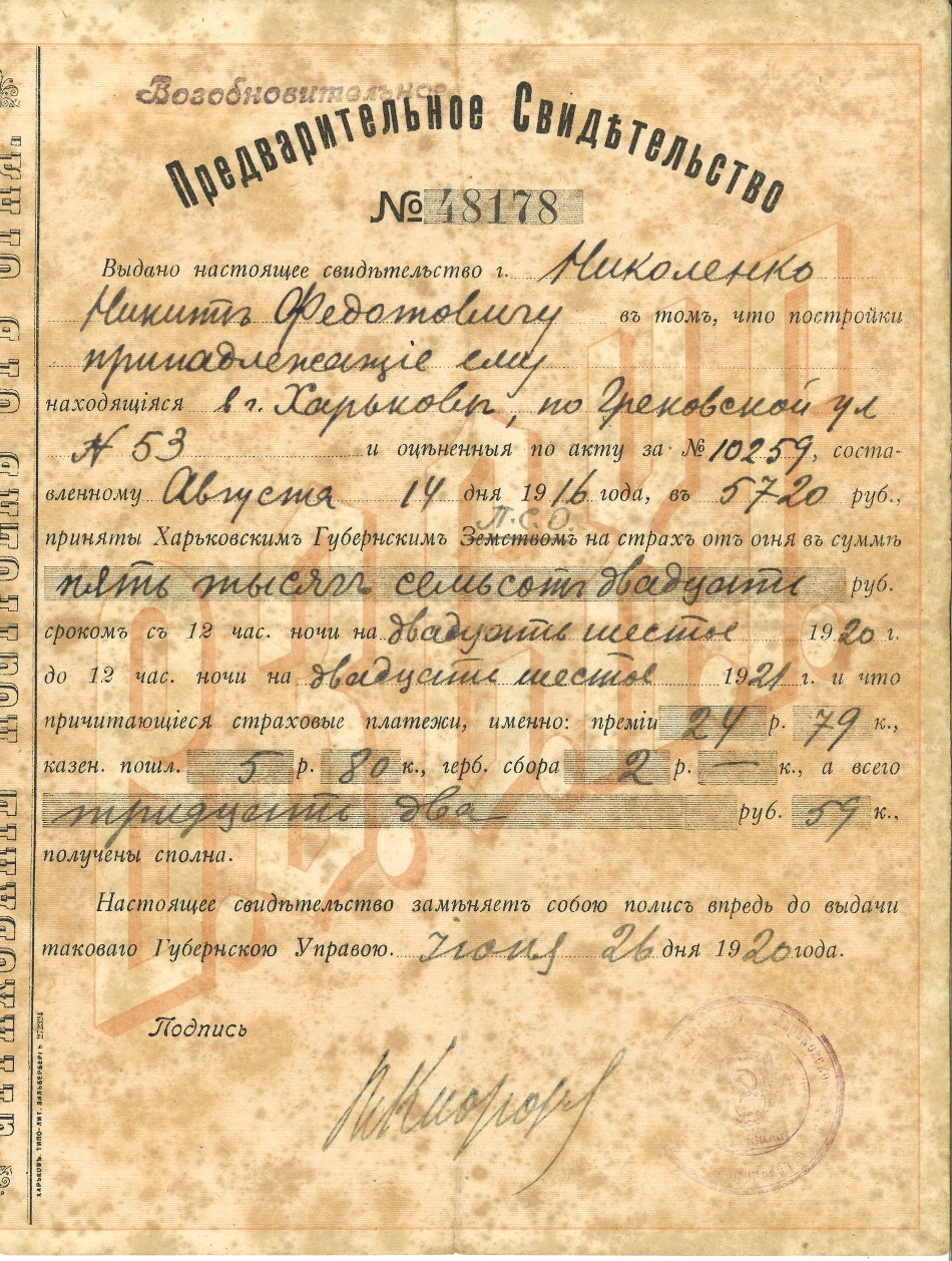 POLISA CHARKOWSKIEGO TUW 1920