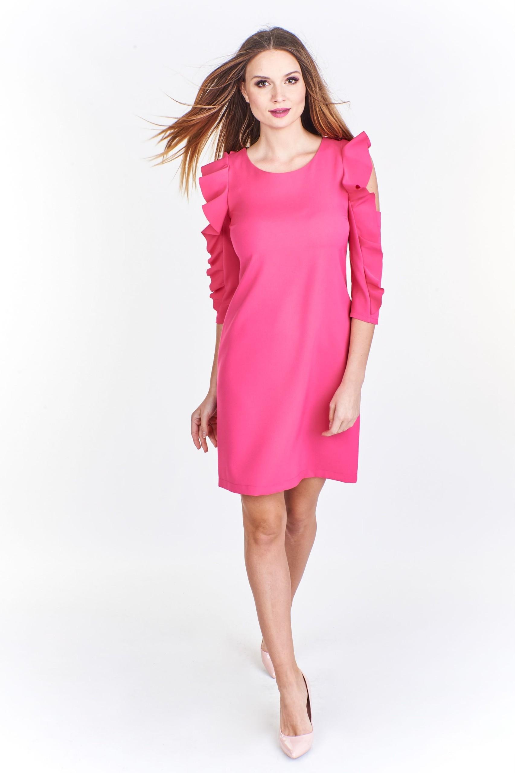 00a79bd2c2 Sukienka koktajlowa z falabaniastymi rękawami 44 R - 7472745582 - oficjalne  archiwum allegro