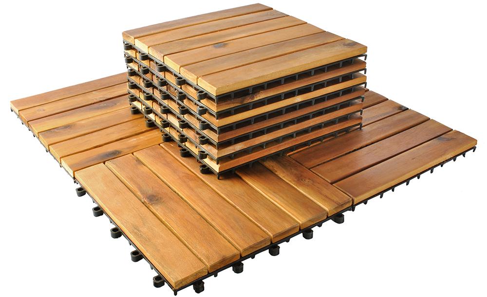 Drewniane Płytki Tarasowe Balkon 10 Szt 30x30 Cm