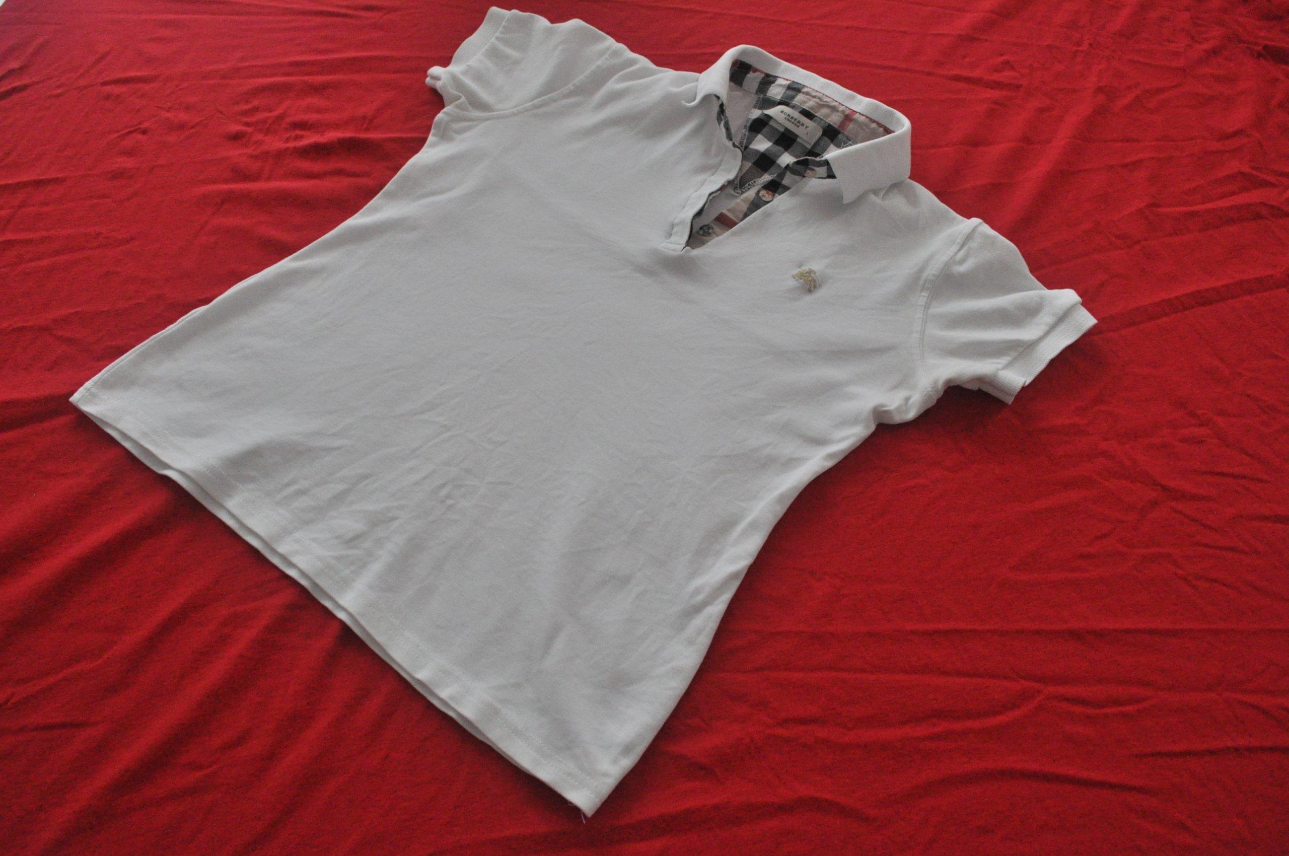 a5abfaa37 BURBERRY biała koszulka polo bluzka M L 38 40 - 7330899725 ...